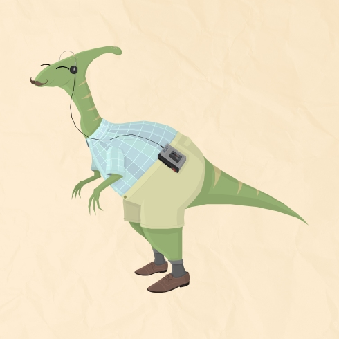 Hipster Dinosaur jams to some indie tunes on his walkman
